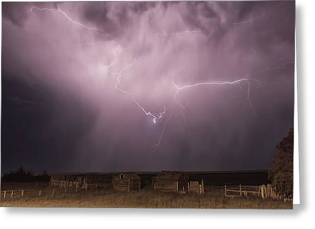 Wooden Shed Greeting Cards - Lightning Bolt Over Some Abandoned Greeting Card by Robert Postma