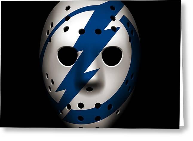 Lightning Greeting Cards - Lightning Goalie Mask Greeting Card by Joe Hamilton