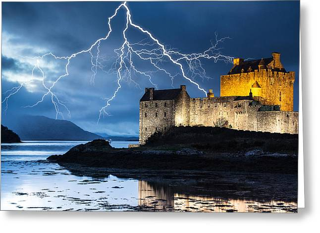Lightning Over Eilean Donan Castle Greeting Card by Keith Thorburn LRPS