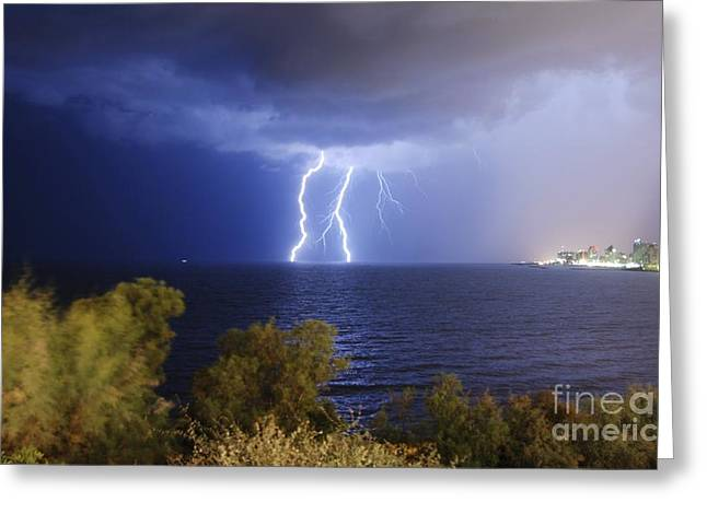 Tels Greeting Cards - Lightning Over The Mediterranean Greeting Card by PhotoStock-Israel