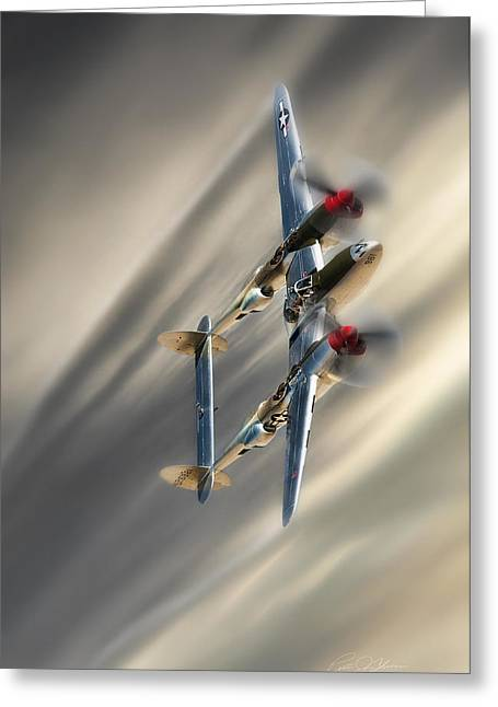 Vintage Aircraft Greeting Cards - Lightning Speed Greeting Card by Peter Chilelli