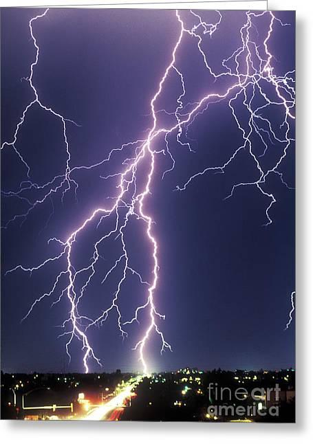 Arizona Lightning Greeting Cards - Lightning Strikes Greeting Card by John A Ey III