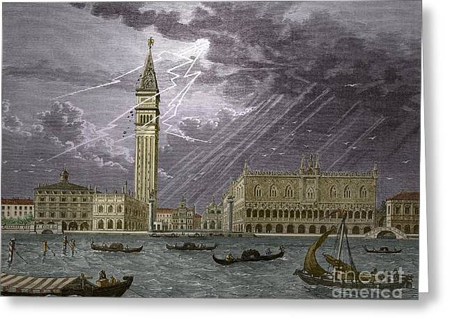 Lightning Strike Greeting Cards - Lightning Striking St, Marks Tower 1745 Greeting Card by Sheila Terry