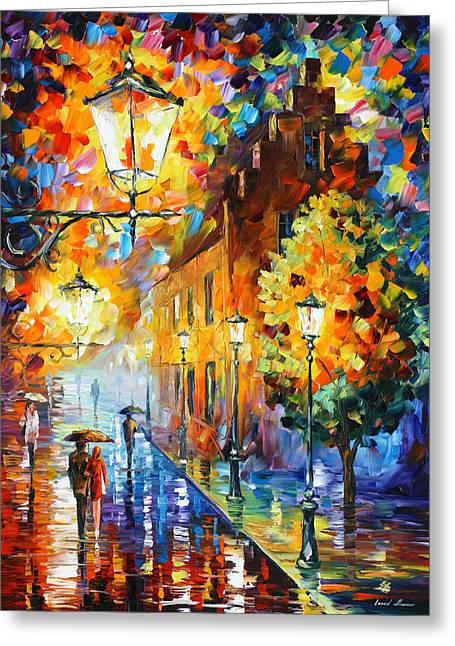 Trees Light Windows Greeting Cards - Lights In The Night Greeting Card by Leonid Afremov
