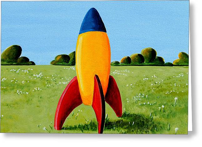 Toys Greeting Cards - Lil Rocket Greeting Card by Cindy Thornton