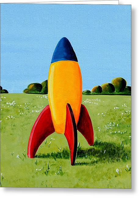 Spaceships Greeting Cards - Lil Rocket Greeting Card by Cindy Thornton