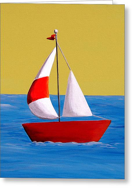 Modified Greeting Cards - Lil Sailboat Greeting Card by Cindy Thornton