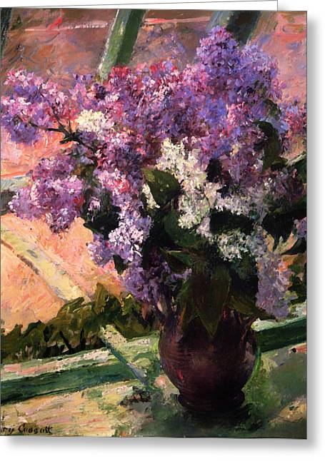 Ledge Greeting Cards - Lilacs in a Window Greeting Card by Mary Cassatt