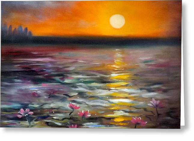 Greeting Cards - Lily Sunset Greeting Card by Gina De Gorna