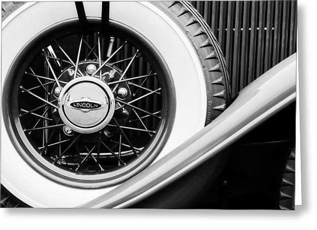 Lincoln Images Greeting Cards - Lincoln Spare Tire Emblem Greeting Card by Jill Reger