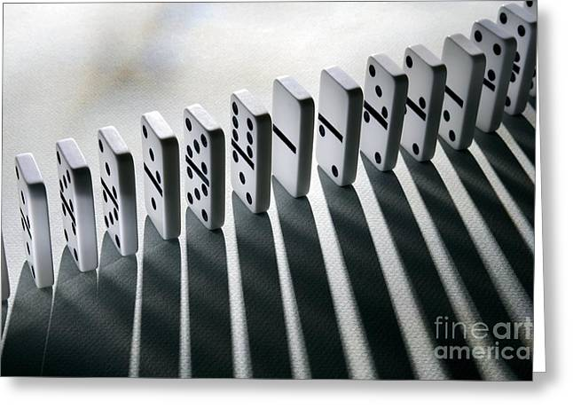 Cause Greeting Cards - Lined Up Dominoes Greeting Card by Victor de Schwanberg