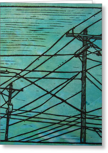 Linocut Greeting Cards - Lines Greeting Card by William Cauthern