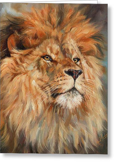 Big Cat Print Greeting Cards - Lion Greeting Card by David Stribbling