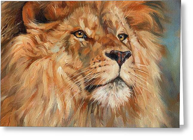 Lion Greeting Card by David Stribbling