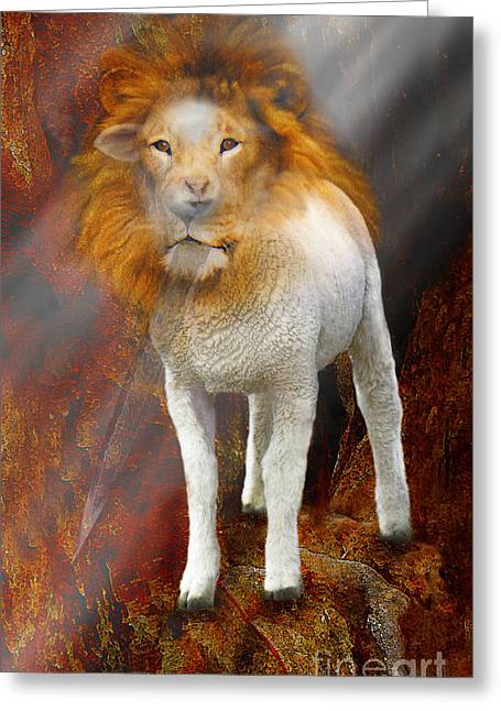 Lion And Lamb Greeting Cards - Lion Lamb Greeting Card by Constance Woods