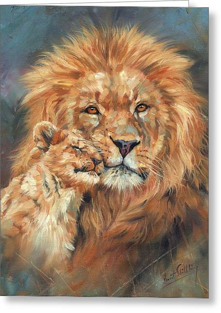 Big Cat Print Greeting Cards - Lion Love Greeting Card by David Stribbling