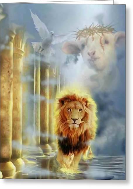 Born Again Digital Greeting Cards - lion of Judah Greeting Card by Ricardo Colon