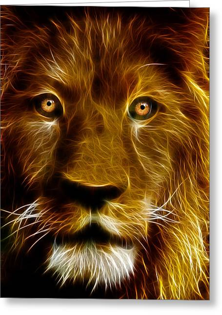 Tilly Art Greeting Cards - Lion Portrait Greeting Card by Tilly Williams