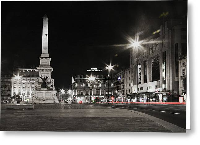 Taxi Stands Greeting Cards - Lisbon At Night With Light Trails Greeting Card by Joel Vieira