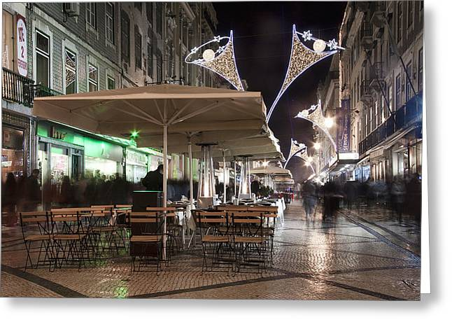Taxi Stands Greeting Cards - Lisbon street at night Greeting Card by Joel Vieira