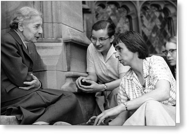 Bryn Mawr Greeting Cards - Lise Meitner with students, 1959 Greeting Card by Science Photo Library