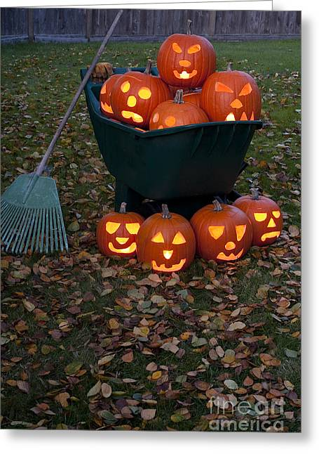 Candle Lit Greeting Cards - Lit Carved Pumpkins In Wheelbarrow Greeting Card by Jim Corwin
