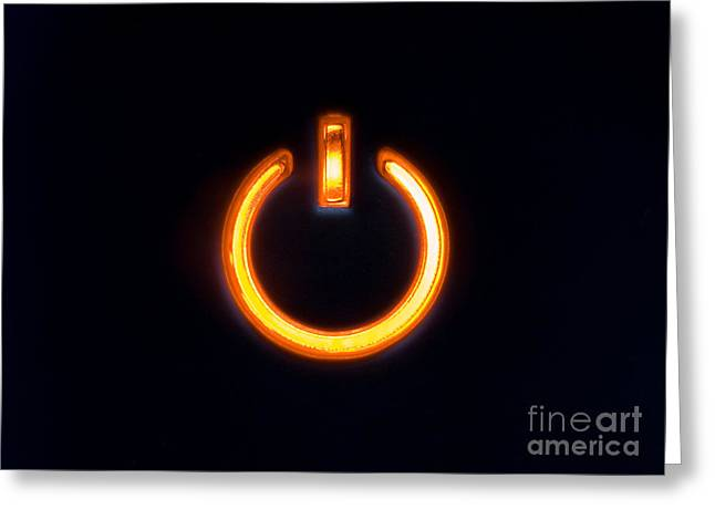 Home Appliance Greeting Cards - Lit Power Button In Orange Color Greeting Card by Jose Elias - Sofia Pereira