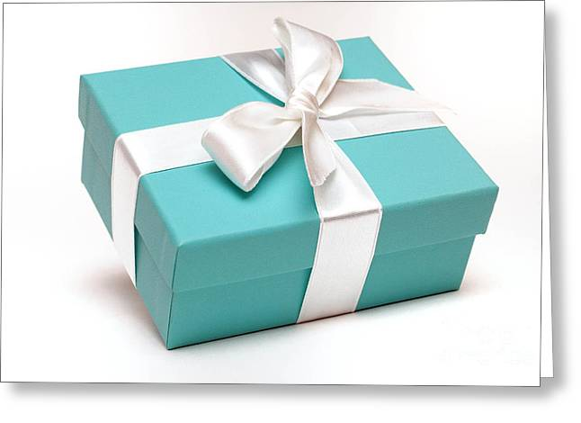 Ribbon Greeting Cards - Little Blue Gift Box Greeting Card by Amy Cicconi