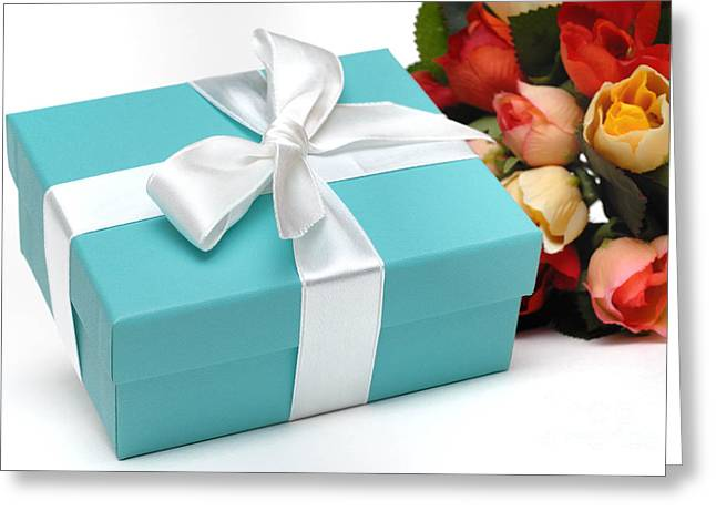Little Blue Gift Box and Flowers Greeting Card by Amy Cicconi