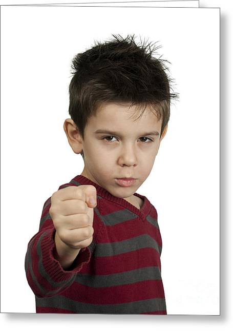 Emotional Gestures Greeting Cards - Little boy threatens with a fist to fight Greeting Card by Deyan Georgiev