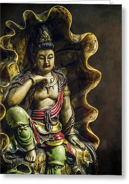 Head Dark Buddha Greeting Cards - Little Buddha Greeting Card by Frank De Kock
