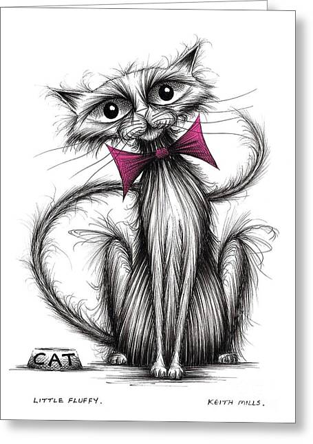 Thin Drawings Greeting Cards - Little Fluffy Greeting Card by Keith Mills