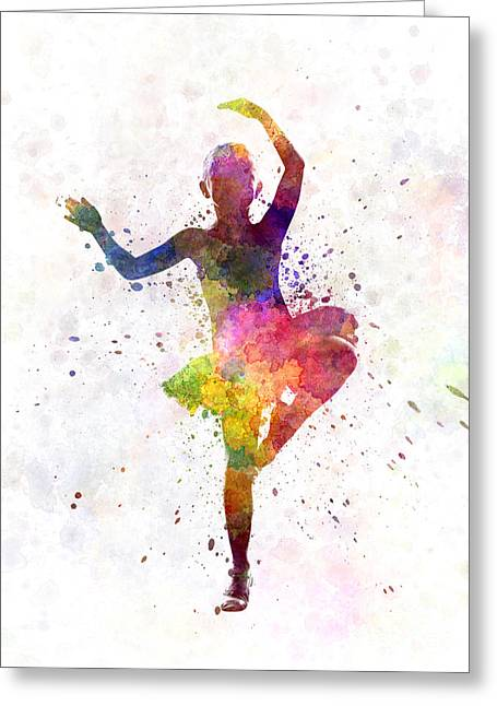 Ballet Dancers Greeting Cards - Little girl ballerina ballet dancer dancing Greeting Card by Pablo Romero
