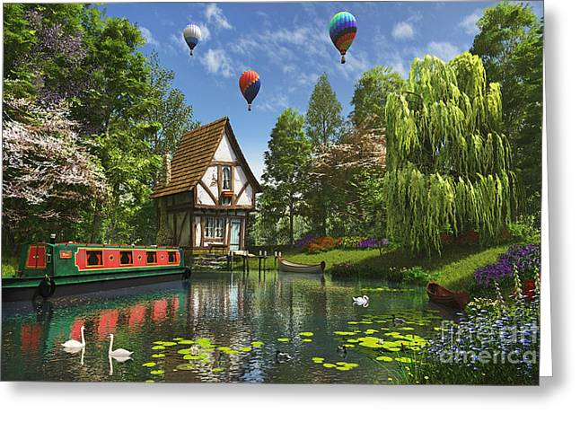 Swans... Greeting Cards - Little House By The Lake Greeting Card by Dominic Davison