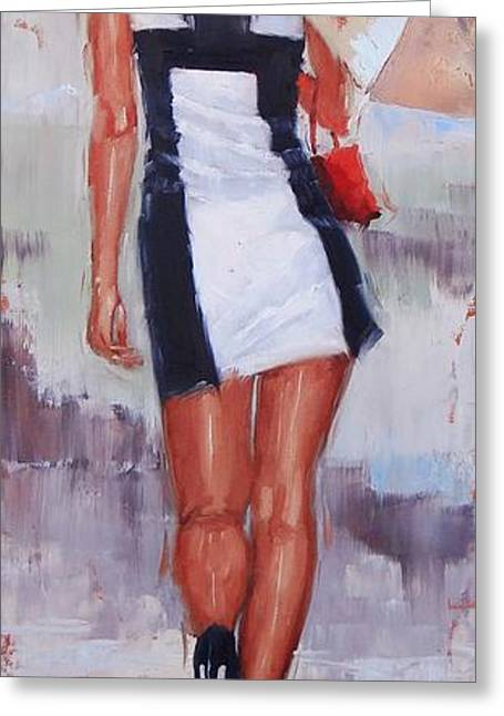 Straight Hair Greeting Cards - Little Red Bag Two Greeting Card by Laura Lee Zanghetti
