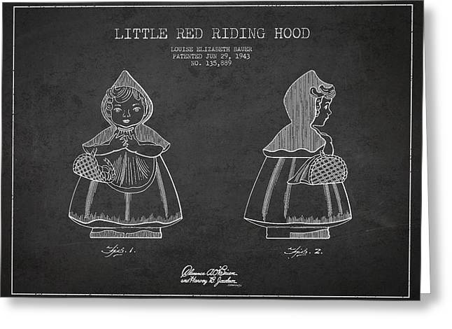 Grimm Greeting Cards - Little Red Riding Hood Patent Drawing from 1943 Greeting Card by Aged Pixel