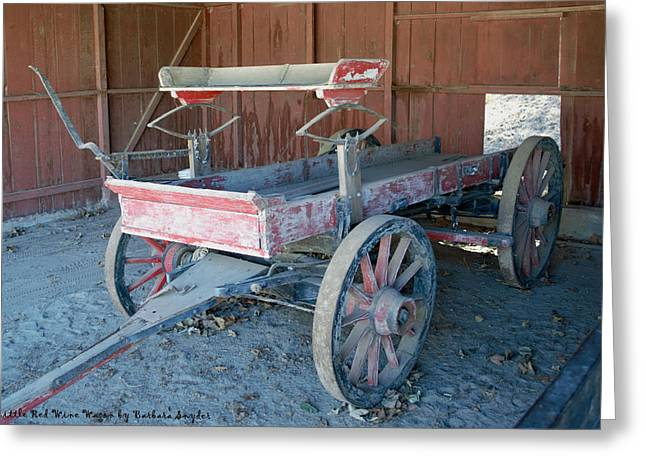 Barbara Snyder Greeting Cards - Little Red Wine Wagon Greeting Card by Barbara Snyder