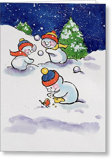 Fir Trees Greeting Cards - Little Snowmen Snowballing Greeting Card by Diane Matthes