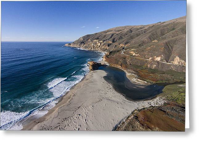 Big Sur Beach Greeting Cards - Little Sur River Greeting Card by David Levy