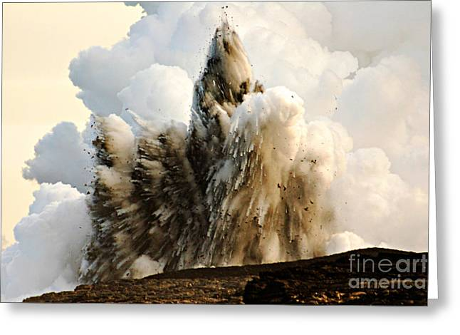 Coolant Greeting Cards - Littoral Explosion At Kilauea Volcano Greeting Card by Stephen & Donna O