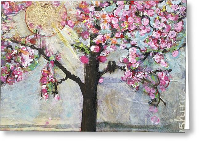 Blossoms Mixed Media Greeting Cards - Live in the Sunshine Greeting Card by Blenda Studio