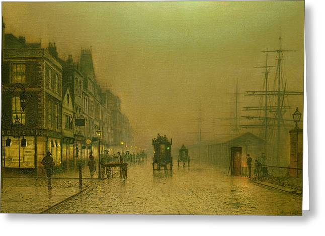 Fog Mist Paintings Greeting Cards - Liverpool Docks Greeting Card by John Atkinson Grimshaw