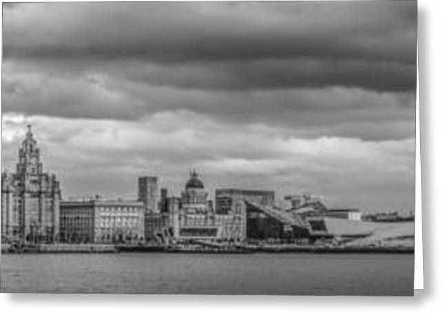 Merseyside Greeting Cards - Liverpool Waterfront Panorama Greeting Card by Paul Madden