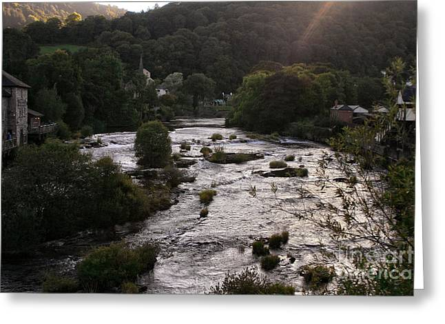 Garden Scene Digital Art Greeting Cards - Llangollen and Maelor Country River Greeting Card by Michael Braham
