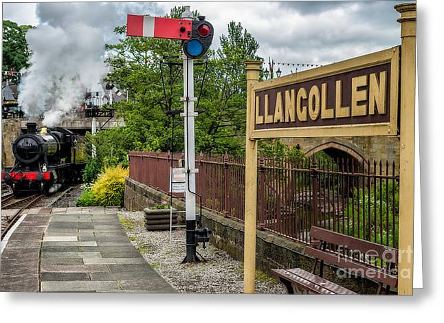2-8-0 Greeting Cards - Llangollen Railway Station Greeting Card by Adrian Evans