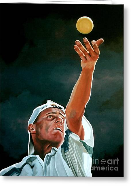 Wimbledon Greeting Cards - Lleyton Hewitt Greeting Card by Paul  Meijering
