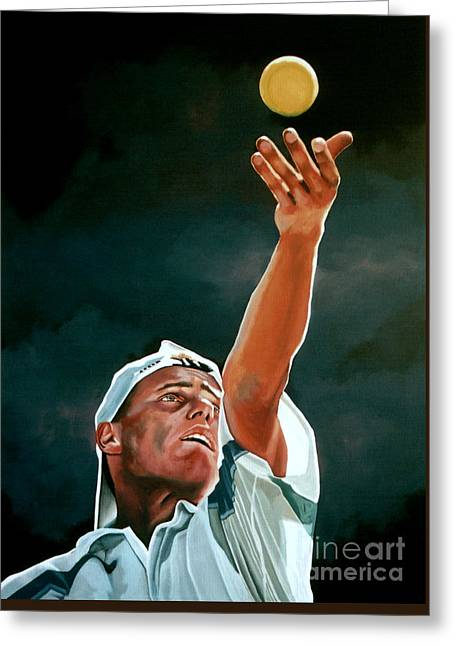Tennis Ball Greeting Cards - Lleyton Hewitt Greeting Card by Paul Meijering