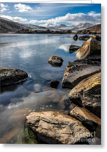Winter Lake Greeting Cards - Llynnau Mymbyr Greeting Card by Adrian Evans