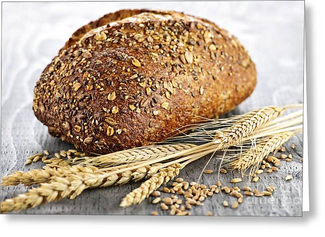 Healthy Greeting Cards - Loaf of multigrain bread Greeting Card by Elena Elisseeva