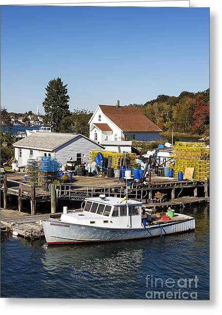New England Village Greeting Cards - Lobster Boat Greeting Card by John Greim